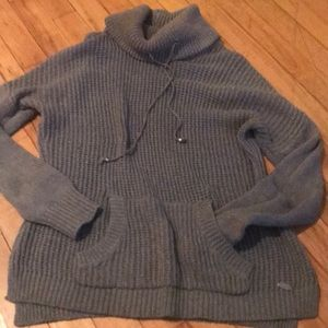 Grey cowl neck knit sweater